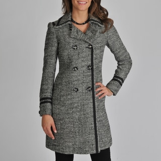 Ivanka Trump Women's D/B Woold Blend Tweed Coat with Tape Trim