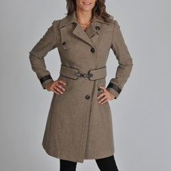 Ivanka Trump Women's Melton Wool Blend Coat with Leather Trim