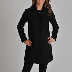 Ivanka Trump Women's Wool Blend Coat with Satin Detachable Collar