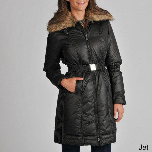 Ivanka Trump Women's Long Belted Coat with Faux Fur