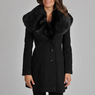 Ivanka Trump Women's Wool Blend Coat with Exaggerated Faux Fur Collar