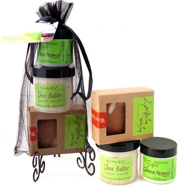 Warm Vanilla Sugar Mild Natural Handmade Soap, Stimulating Sugar Scrub and Hydrating Shea Butter Body Balm Gift Set