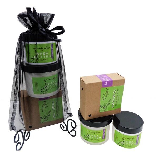 Lavender Bliss Natural Soap/ Renewing Sugar Scrub/ Moisturizing Shea Butter Balm Gift Set