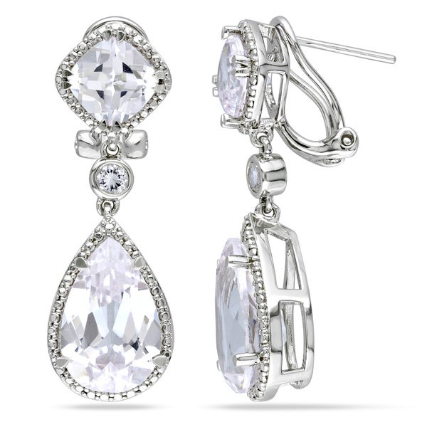 Miadora Sterling Silver White Sapphire and Green Amethyst Dangle Earrings