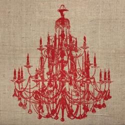 Art in Style 'Chandelier Red' Decoupage On Burlap Art