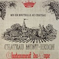 Art in Style 'Chateau Mont-Redon' French Wine Label Decoupage On Burlap Art
