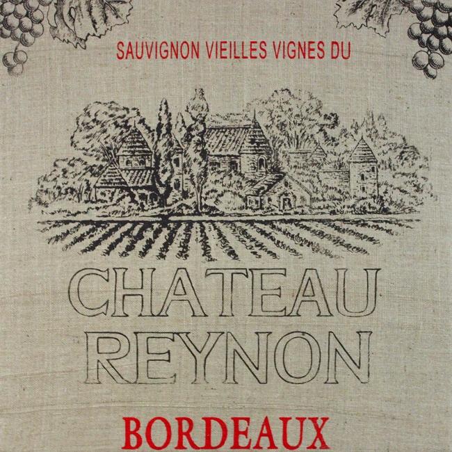 Art in Style 'Chateau Reynon' French Wine Label Decoupage On Burlap Art