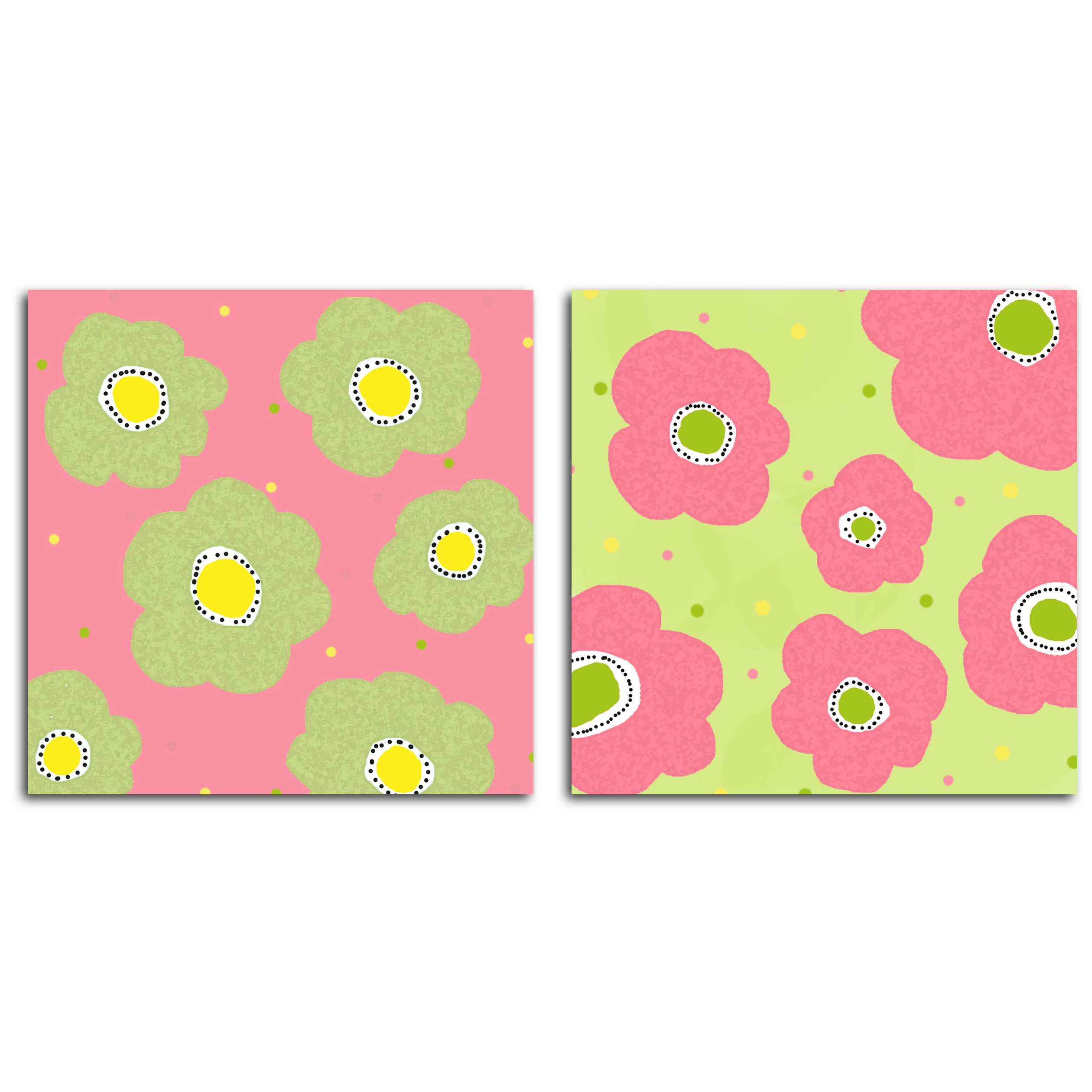 Art in Style 'Posies Pink and Green' Giclee On Canvas Art (Set of 2)