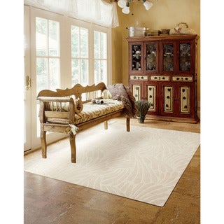 Nourison Hand-tufted Contours Striped Ivory Rug (3'6 x 5'6)