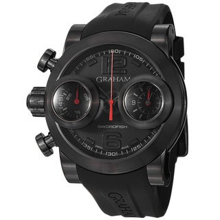 Graham Men's 'Swordfish' Black Dial Black Rubber Strap Watch