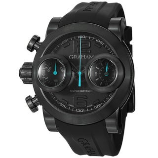 Graham Men's 'Swordfish' Black Dial Rubber Strap Chronograph Watch