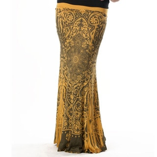 Tabeez Women's Gold Scroll Print Maxi Skirt