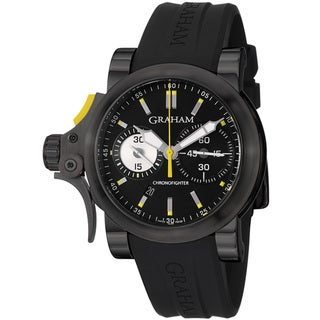 Graham Men's 2TRAB.B01A 'Chronofighter' Black Dial Black Rubber Strap Watch