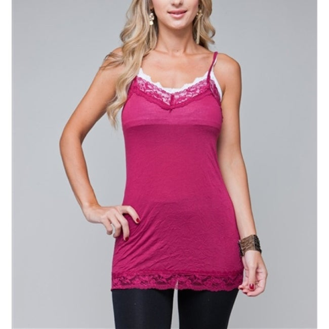 24/7 Frenzy Women's Magenta Lace Trim Camisole