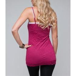 24/7 Frenzy Women's Magenta Lace Trim Camisole