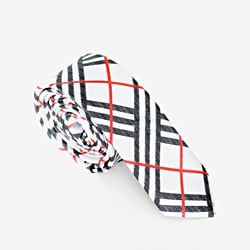 Skinny Tie Madness Men's White/ Black Plaid Skinny Tie