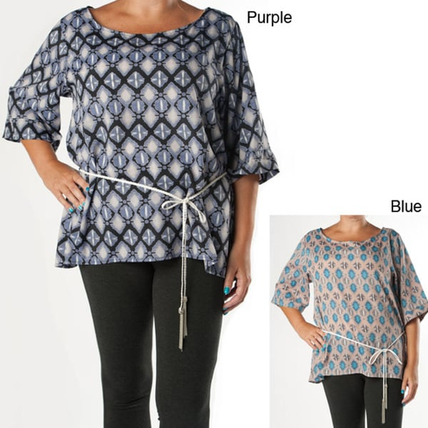 Tabeez Women's Plus Abstract Printed Tie Tunic Top