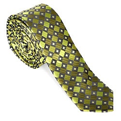 Skinny Tie Madness Men's Green Diamond Skinny Tie