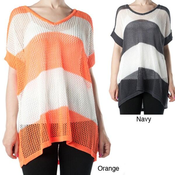 Tabeez Women's Striped Open Knit Sweater
