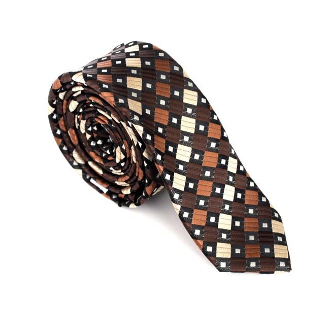 Skinny Tie Madness Men's Brown Squares Skinny Tie