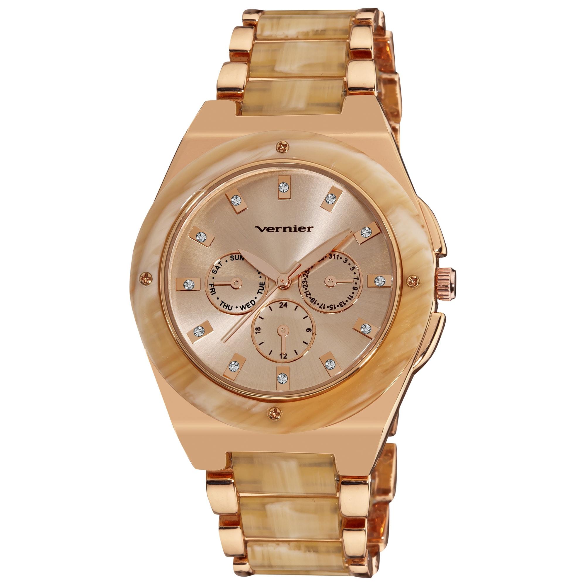 Vernier Women's Rose Tone Bone Resin Faux Chrono Bracelet Watch