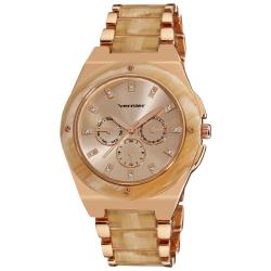 Vernier Women's Rose Tone Bone Resin Faux Chrono Bracelet Watch