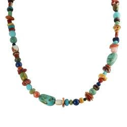 Tressa Silver Genuine Turquoise, Coral and Shell Bead Necklace