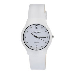 Skagen Women's White Ceramic Leather Strap Watch