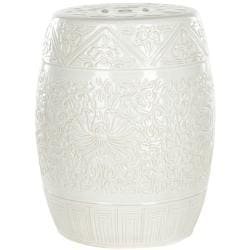 Safavieh Paradise Gardens Embossed Light Grey Ceramic Garden Stool