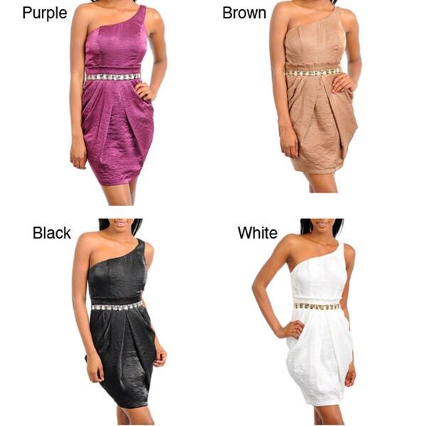 Stanzino Women's Single Strap Pleated Dress with Stone Detailed Waist