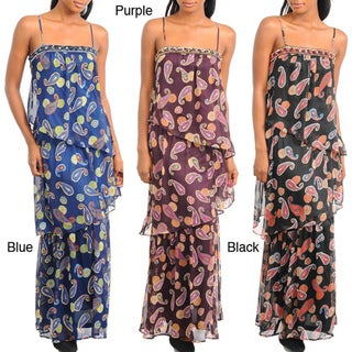 Stanzino Women's Spaghetti Strap Paisley Print Tiered Maxi Dress