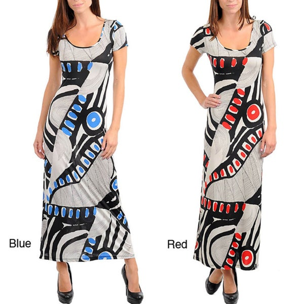 Stanzino Women's Short Sleeve Geometric Print Long Dress with X-back