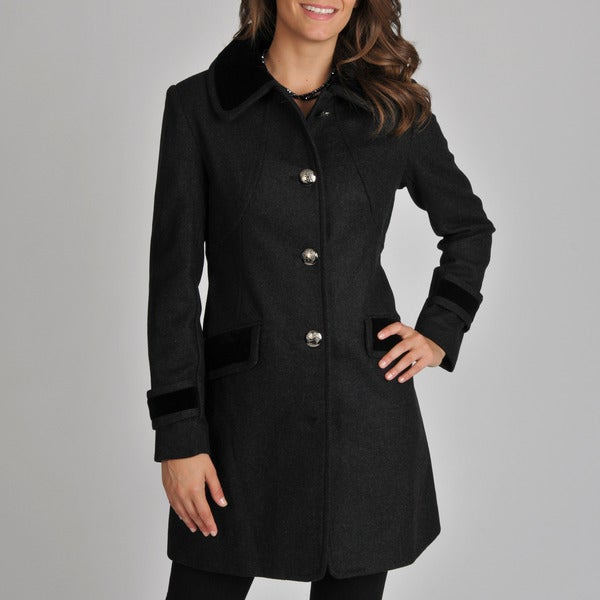 Vince Camuto Women's Charcoal Velvet Trim Coat