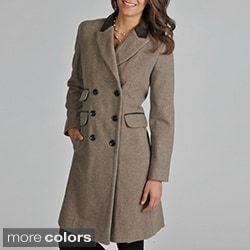 Vince Camuto Women's 'Chesterfield' Leather Trim Coat