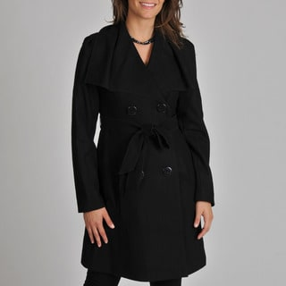 Vince Camuto Women's Black Belted Wool Coat