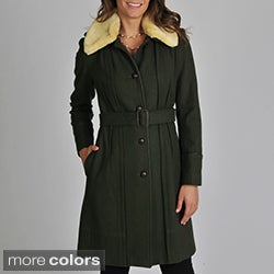 Vince Camuto Women's Belted Wool Coat with Sherpa Collar