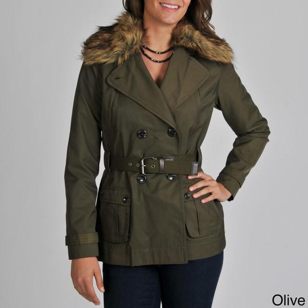 Vince Camuto Women's Faux Fur Collar Raincoat