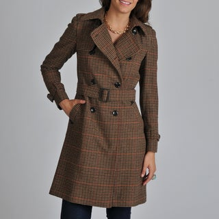 Vince Camuto Women's Brown Plaid Trench Coat