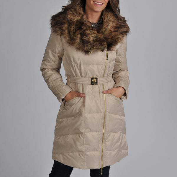Vince Camuto Women's Champagne Faux Fur Shawl Coat
