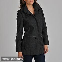 Vince Camuto Women's Cotton-trim Wool-blend Coat
