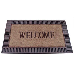 Wood Frame Coir and Recycled Rubber Doormat