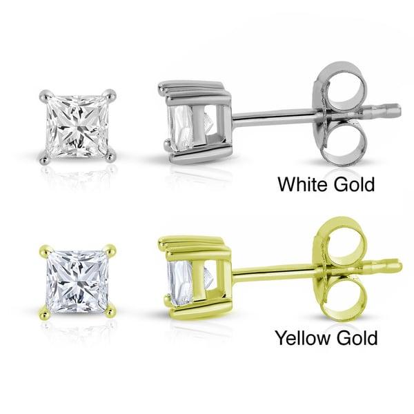 Montebello 14k White/Yellow Gold 1/3ct TDW Princess Diamond Stud Earrings