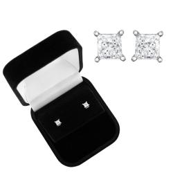 14k Gold 1/3ct TDW Princess Diamond Solitaire Earrings (I-J, I2-I3)