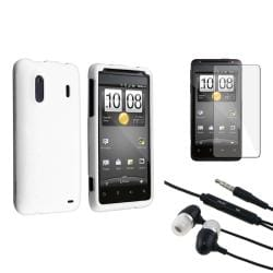 White Rubber Case/ Screen Protector/ Headset for HTC EVO Design 4G