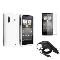White Case/ Screen Protector/ Car Charger for HTC EVO Design 4G