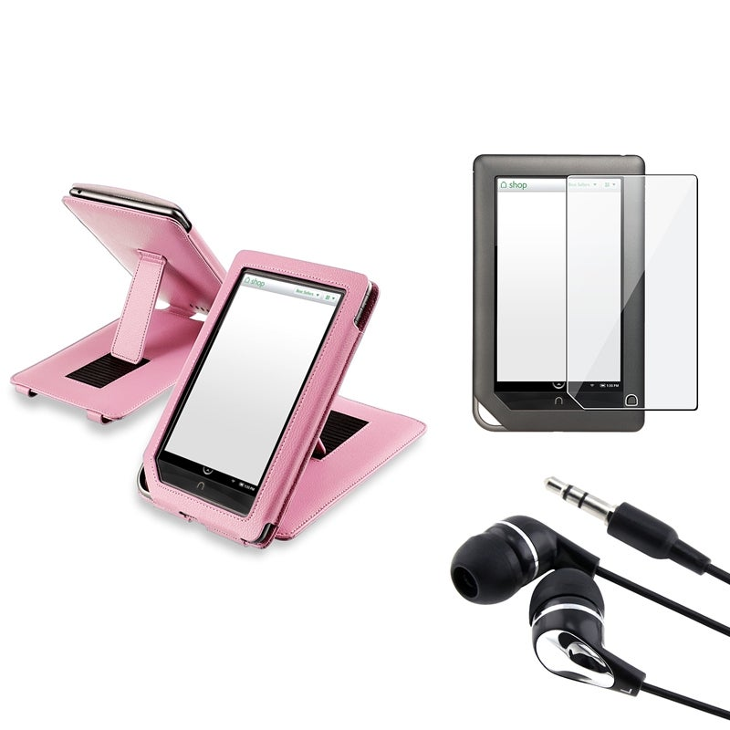 INSTEN Leather Phone Case Cover/ Screen Protector/ Headset for Barnes & Noble Nook Tablet