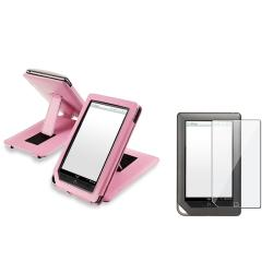 INSTEN Pink Leather Phone Case Cover/ Screen Protector for Barnes & Noble Nook Tablet