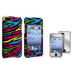 Colorful Zebra Case/Mirror Screen Protector for Apple iPod Touch Generation 2/3