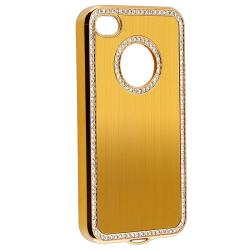 Bling Gold Case/Purple Diamond Sticker/Protector for Apple iPhone 4/4S