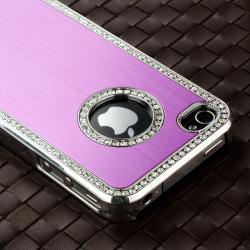 Bling Purple Case/Purple Diamond Sticker/Protector for Apple iPhone 4/4S